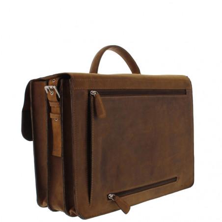 "Plevier Business laptoptas vintage leer 3-vaks 17.3"" Bruin"