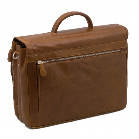 "Plevier Business laptoptas crumble rundleer 2-vaks 15.6"" Cognac"