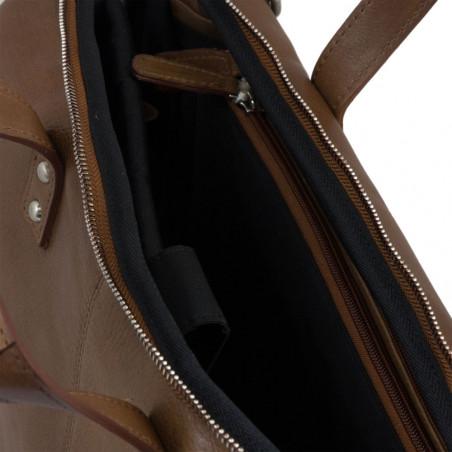 "Plevier Business laptoptas volnerf rundleer 1-vaks 15.6"" Cognac"