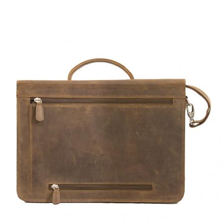 "Plevier Business laptoptas vintage volnerf rundleer 2-vaks 14"" Bruin"