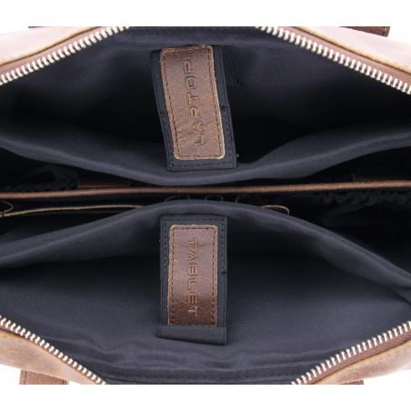 """Plevier Business laptoptas vintage rundleer 2-vaks 15.6"""" Donkerbruin"""