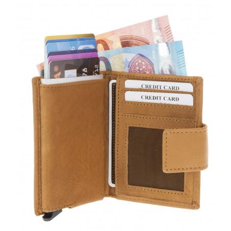 Figuretta Leren Card Protector Wallet Cognac