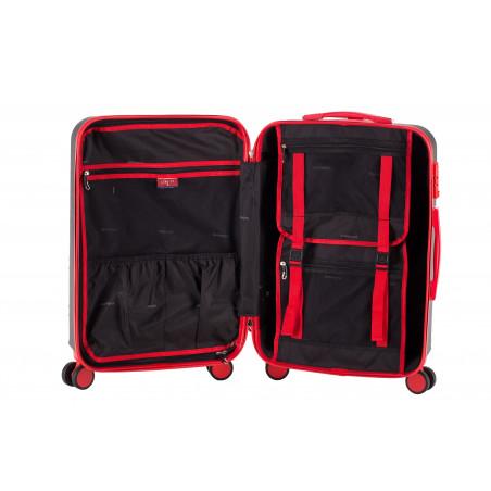 Decent Lumi-Fix Handbagage Koffer 55cm Zwart/rood